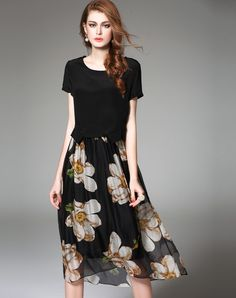 Black Floral Print Silk Two Piece Midi Dress. VIPme.com offers high-quality Day Dresses at affordable price.