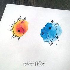 Yin Yang Sun Moon tattoo geometric watercolor (design made for Lindsay - simply--linzzay.tumblr.com) / more on SKINQUE.COM