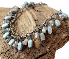 Handmade Sterling Silver Chain Bracelet with Labradorite and Vintage Czech Glass Beads