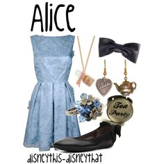 """Alice in Wonderland outfit. """"My dear this is not wonderland, and you are not Alice. Disney Princess Outfits, Cute Disney Outfits, Disney Dresses, Girl Outfits, Cute Outfits, Disney Clothes, Alice In Wonderland Outfit, Wonderland Costumes, Disney Inspired Fashion"""