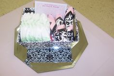 Damask baby shower centerpiece each guest table (wrapped silverware and supplies for games in damask box) box found at hobby lobby