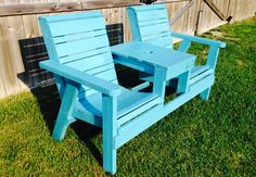 Garden bench with table. Made by 5&2 Woodworks.