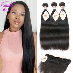 Ariel 8A Malaysian Straight Hair With Closure 3 Bundles With Frontals Malaysian Virgin Hair With Frontal Closure Bundles