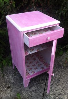 Vintage Pink And White Shabby Chic Bedside Table With Wallpaper By Upvamped