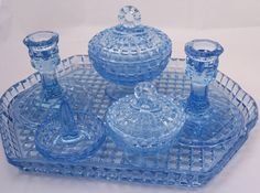 Vintage Art Deco Depression Blue Glass by thesecretcupboard (for the Master Bedroom of the main home) ♥