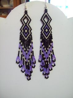 Native American Beaded Purple and Black Earrings Delica. $20.00, via Etsy.