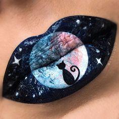 Magical Black Cat and Full Moon Lip Art by (Lolilooo (Lola))… – About Lips Lipstick Designs, Lip Designs, Makeup Designs, Makeup Ideas, Crazy Makeup, Cute Makeup, Lip Makeup, Lipstick Art, Crazy Lipstick