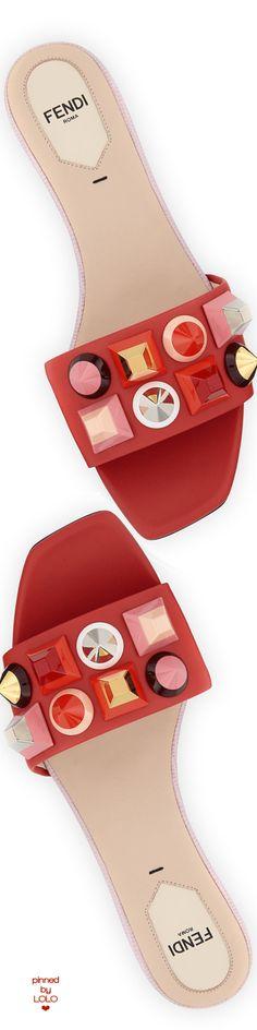 Fendi Studded Leather Slide Sandal, Red/Pink