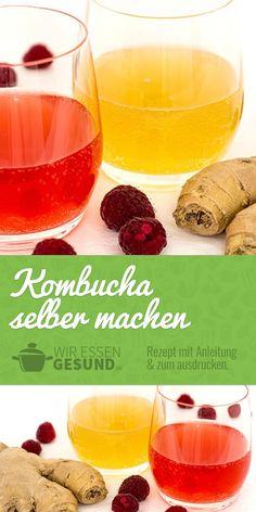 Make Kombucha yourself - all varieties - WirEssenGesund - Trend Best Cocktail Recipes 2019 Kombucha Brands, Kombucha Bottles, Green Tea Detox, Detox Tea, Kefir Recipes, Healthy Recipes, Kombucha Beneficios, Kefir Benefits