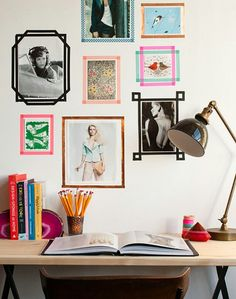 Washi tape frames + desk + lamp from *design sponge http://www.designsponge.com/2012/10/dorm-diy-tape-picture-frames.html