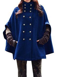 Allegra K Women Dolman Sleeve Stand Collar Double Breasted Poncho Coat Blue XL Allegra K http://www.amazon.com/dp/B00QTBFFXG/ref=cm_sw_r_pi_dp_p4q1ub0SXQQGT