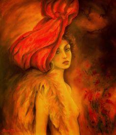 Grazyna Federico - The red hat Acrylic on cardboard 63 x 73 cm