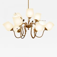 View this item and discover similar for sale at - Chandelier in brass with nine amber glass shades and leaf and flower decoration by Itsu, Finland, This is similar to chandeliers Paavo Tynell did Decor, Lamp Design, Brass, Amber Glass, Glass Shades, Lamp, Ceiling Lights, Modern, Chandelier