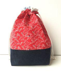 Project Bag - Sock Knitting Bag - Sock Sack - Knitting Project Bag - Crochet Project Bag - Needlepoint Bag - Embroidery Bag - (Medium) by LowlandOriginals on Etsy