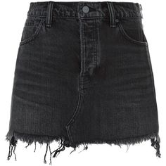 Alexander Wang Zip Detail Denim Skirt ($385) ❤ liked on Polyvore featuring skirts, knee length denim skirt, distressed skirt, denim skirt, distressed denim skirts and ripped skirt