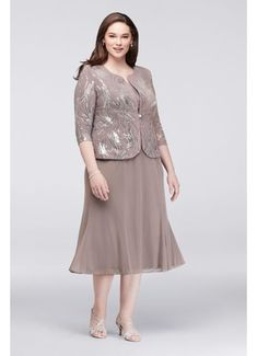 Jersey Plus Size Sequined Chiffon Tea-Length Mother of Bride/Groom Dress and Jac… Jersey Plus Size Sequined Chiffon Tea-Length Mother of Bride/Groom Dress and Jacket Set – Pewter, Necklines For Dresses, Dresses Uk, Plus Size Dresses, Bridal Dresses, Evening Dresses, Fashion Dresses, Halter Dresses, Pageant Dresses, Chiffon Dress