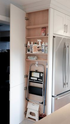 Astonishing Hidden Kitchen Storage Ideas You Must Have Do you have a small kitchen? Perhaps odd-sized cabinets or a less-than-ideal layout? It can be tough to find efficiency … Kitchen Pantry Design, Kitchen Organization Pantry, Kitchen Redo, Kitchen Storage, Pantry Ideas, Kitchen Ideas, Kitchen Counters, Kitchen Cabinets, Cleaning Supply Organization
