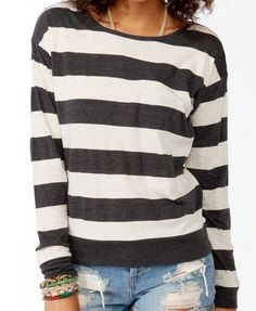Heathered Striped Top | FOREVER21 - 2030188003