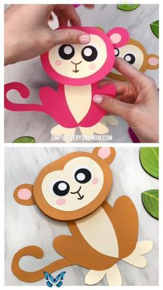 Cute Monkey Craft For Kids (With Free Printable Template) Easy Monkey Card Craft For Kids   Make these cute and simple monkey cards with this free printable template and some paper and glue. It's a perfect art project to make for Mother's Day, Father's Day or parent's birthdays!   #toddlers #preschool #kindergarten #gradeschool #elementary #mothersday #fathersday #mothersdaycards #monkeycraft #craftsforkids #kidscrafts #ideasforkids #homemadecards #kidsdiy #kidsactivities #activitiesforkids… Monkey Crafts, Owl Crafts, Animal Crafts, Preschool Crafts, Preschool Kindergarten, Easy Crafts For Kids, Creative Crafts, Diy For Kids, Happy Greetings