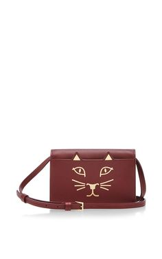 Burgundy Calf Leather Feline Crossbody   by Charlotte Olympia Now Available on Moda Operandi