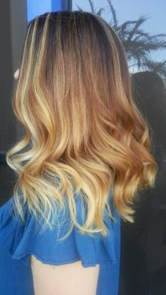 Golden spring highlites on Stephanie.  Hair by Evy. Torrance, Ca  424 215-8362