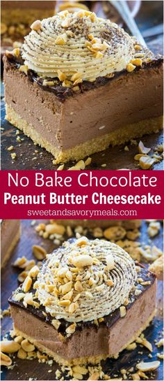 Chocolate Peanut Butter Cheesecake with no cracks or cooking time, because this delicious cheesecake is no bake with a perfect creamy texture. #nobake #nobakedessert #cheesecake #chocolate #peanutbutter