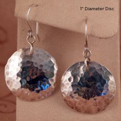 Hammered Sterling Silver Disc Earrings by mbnardy on Etsy, $30.00