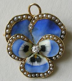 Antique 14ct Gold Enameled Pansy with Seed Pearls Brooch/Pendant. Very imaginative!