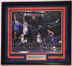 Kristaps Porzingis NY Knicks Signed Framed 16x20 Hook Photo Steiner
