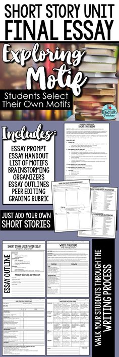 Finalize your short story unit with a culminating essay that brings together all of the stories you and your students read. Analyze a common motif throughout multiple short stories. This literary analysis essay is ideal for secondary English language arts.