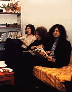 The members of Led Zeppelin enjoy some down time