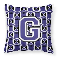 Letter G Football Purple and White Fabric Decorative Pillow CJ1068-GPW1414