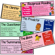 Job cards for reciprocal teaching