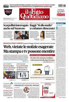 Il Fatto Quotidiano Prima Pagina di Oggi 16 Febbraio 2017 http://ift.tt/2krrnWV