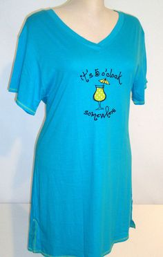 Rampage Nightgown SMALL or MEDIUM It's 5 O'CLOCK SOMEWHERE Cocktail NEW $28 TAG  #Rampage #Gowns