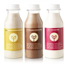 The Living Food Kitchen packaging design - Studio h Dairy Packaging, Juice Packaging, Beverage Packaging, Bottle Packaging, Brand Packaging, Kombucha, Smoothie Company, Branding, Inspiration Wand