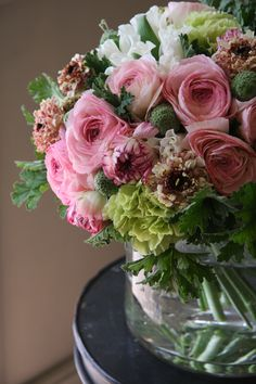 ranunculus,tulip, and scabiosa