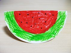 Could Glue on Real Watermelon Seeds Preschool Crafts for Kids*: Summer Watermelon Paper Plate Craft Daycare Crafts, Classroom Crafts, Toddler Crafts, Watermelon Crafts, Fruit Crafts, Paper Plate Crafts, Paper Plates, Sun Crafts, Arts And Crafts
