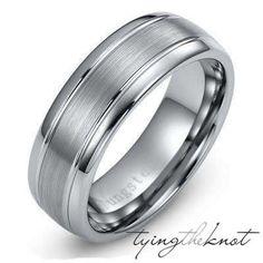 Tungsten Carbide Two-Tone Dome Brushed Comfort Fit Mens Womans Mans Wedding Ring Band 8mm Size 7.5 - 14.5