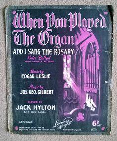 1927 Ukulele etc. Sheet Music - When You Played The Organ And I Sang The Rosary Vintage Sheet Music, Him Band, Ukulele, Singing, Play, Words, Horse