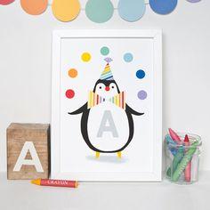 Rainbow circus penguin clown nursery print A4 21cm x by ClothKat