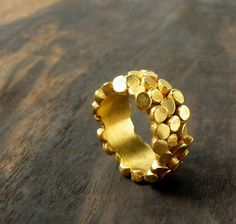 Gold mosaic ring by metaxa on etsy, $240.00