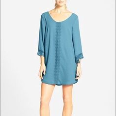 Astr Lace Trim Shift Dress In Teal Size Xs