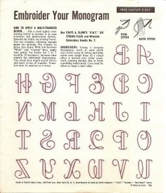 Sew your monogram. Note the backwards letters! Here's why: You'll want to print this onto transfer paper.
