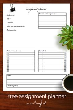 Assignment planner template ||| Study, student, school, university, college, time management, organisation