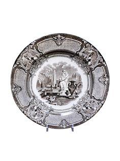 19th Century English Brown Transferware Plate Corrella CE&M
