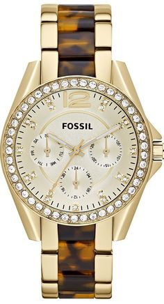 Fossil Watches, Women's Riley Multifunction Stainless Steel Watch Gold-Tone With Tort #ES3343