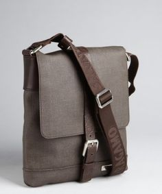 Salvatore Ferragamo: coffee coated canvas map case small messenger bag