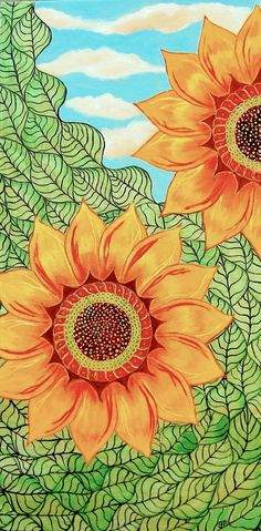 "Sonnenblumen Gemälde Acryl Original Zentangle Style 12 ""x 24"" Green Orange Blue"