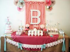 Dessert Table designed/styled/handcrafted by My Lady Dye - Vintage Chic Birthday Party